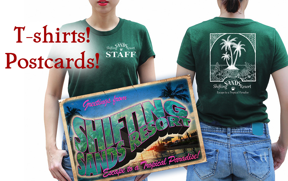T-shirts and postcard designs